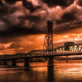 Hawthorne Oils by Jeremy Hill - Digital Art Places ( portland, digital art, bridge, oil art, digital photography )