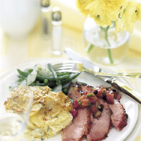 Baked Ham with Mustard-Red Currant Glaze and Rhubarb Chutney
