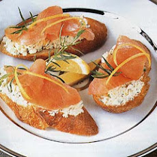 Smoked Salmon, Fennel and Goat Cheese Toasts