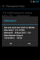 Screenshot of Planespotter Diary