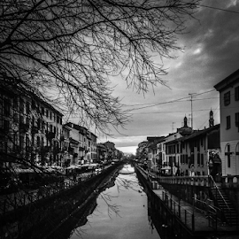 Navigli in B&W by Kevin Spagnolo - Instagram & Mobile iPhone ( noir, milan, b&w, navigli, black and white, sunset, milano, reflect, river )