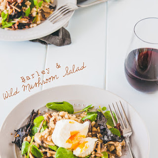 Barley And Mushroom Salad With Poached Egg