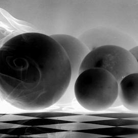Spheres by Katarzyna Malinowska - Digital Art Abstract ( bees spheres b&w black white shadows smoke )