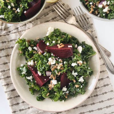 Roasted Beet and Kale Salad with Farro and Lemon Dressing