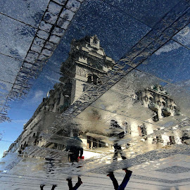 Reflex 18 by Zoran Nikolic - City,  Street & Park  Street Scenes ( reflection, arhitecture, puddle, reflexion, street photography )