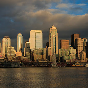 Seattle at Dusk by Peter Andrusyszyn - City,  Street & Park  Skylines ( skyline, 2014, seattle )