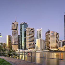 Sunrise blue hour over4 Eagle Street buildings by Mick McKean - City,  Street & Park  Skylines ( queensland, australia, kangaroo point, captain burke park )