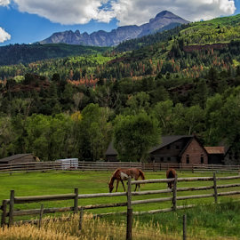 Evening in the Valley by Michael Buffington - Landscapes Mountains & Hills ( farm, mountain, horse )