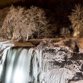 Niagara Falls Arctic White Blast by John Witt - Landscapes Weather ( cold, niagara falls, frozen flls, nighttime, niagara falls state park )