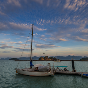 Sail Boats Of Langkawi by Mahdi Hussainmiya - Transportation Boats ( clouds, transport, mood, ocean, boat, sail boat, water, device, transportation )
