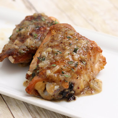 Pan-Seared Chicken Thighs w/Beer & Grainy Mustard Sauce