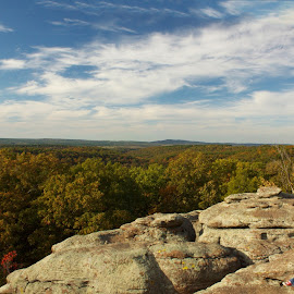by Chris Taylor - Landscapes Caves & Formations ( clouds, taking pictures, shawnee national forest, plants, horizon, tourism, forest, travel, places, iphone, panorama, 365, sky, nature, rock formations, autumn, fall, outdoors, trees, autumn colors, garden of the gods )