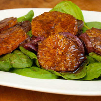 Oranges, Caramelized Red Onions and Spinach with Balsamic Vinaigrette