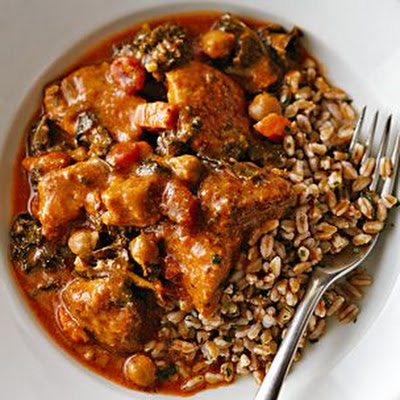 Pork Braised with Sautéed Kale, Chickpeas and Tomatoes