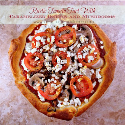 Rustic Ricotta Tomato Tart With Mushrooms and Caramelized Onions and Mushrooms
