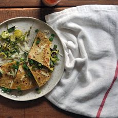 Roasted Brussels Sprout Quesadillas with Monterey Jack and Scallions