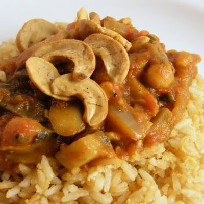 Tomato, Aubergine & Mushroom Curry with Cashews