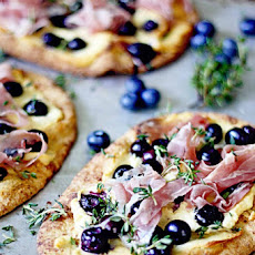 Blueberry Pizza with Honeyed Goat Cheese and Prosciutto makes 3 small pizzas