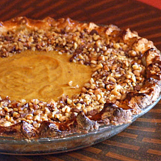 Pumpkin Pie with Toffee- Walnut Topping