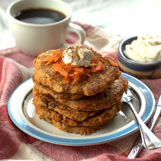 Vegan Carrot Cake Pancakes with Cashew Cream Cheese Maple Topping