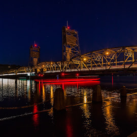 Stillwater Starlight Gondola by Chris Hurst - City,  Street & Park  Night ( lights, reflection, minnesota, stillwater, long exposure, bridge, boat, st croix river, river )