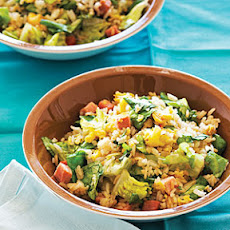 Lettuce Fried Rice with Easter Ham and Eggs