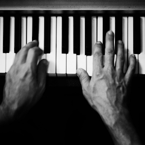 Play with me by Anita Nadj - Black & White Objects & Still Life ( concerts, piano, hands, bw, hammond, pno )