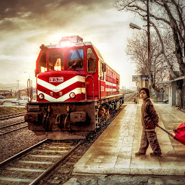 Evening Travel by İsmail Bülbül - Transportation Trains