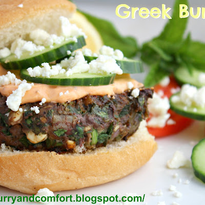 Greek Style Spinach and Feta Burgers