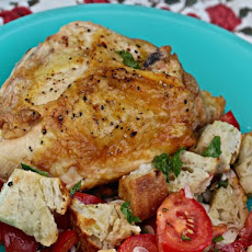Roasted Chicken With Tomato-Mint Panzanella