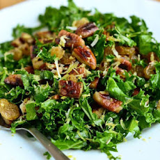 Kale Salad with Pecan Nuts and Raisins