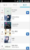 Screenshot of K-Pop Popular Music Chart