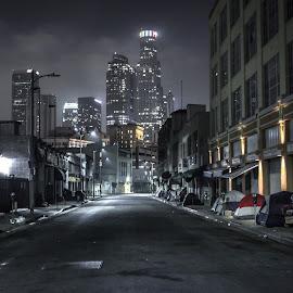 City of Angels by Clemente Ruiz - City,  Street & Park  Street Scenes ( skyline, los angeles skyline, homeless, california, street, buildings, la, los angeles, night )