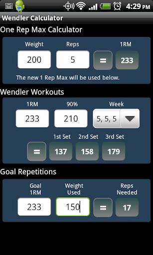 Wendler Calculator