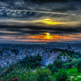 Dark falls (ΙV) by Sergios Georgakopoulos - City,  Street & Park  Skylines ( clouds, hill, sky, hdr, sunset, greece, athens, sun, city )