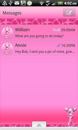 GO SMS - Pink Giraffe