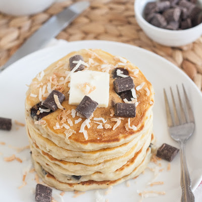 Toasted Coconut and Chocolate Chunk Sour Cream Pancakes