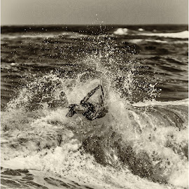 getting the wave by Maricha Knight van Heerden - Sports & Fitness Surfing ( crashing waves, black and white, waves, onrus, body boarding, summer )