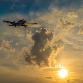 by Stuart Byles - Transportation Airplanes ( propellar, clouds, flight, sky, plane, blue,  )