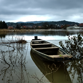 Over flooded by Oliver Švob - Transportation Boats ( canon, water, europe, village, flood, croatia, wheater, landscape, boat, wooden boat, rural, river,  )