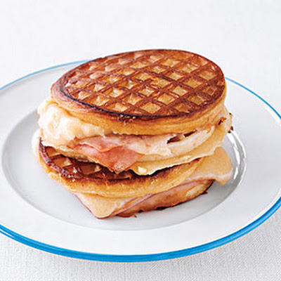 Grilled Ham and Cheese Waffle Sandwiches