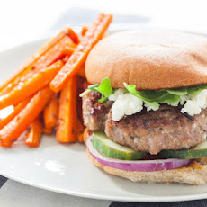 Harissa-Spiced Lamb Burger with Roasted Carrot Fries