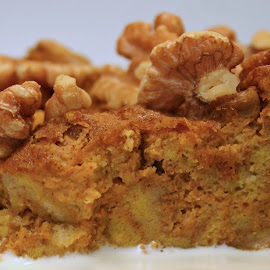 (Drunken Pumpkin Drambuie Bread Pudding with Maple Heavy Cream.- served warm) by Waynette  Townsend - Food & Drink Candy & Dessert ( pumpkin, pudding, plated pumpkin bread pudding, comfort food, cooking, plated food, walnuts, dessert )
