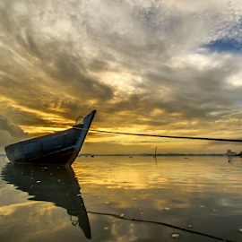 parking by Endra Sunarto - Landscapes Sunsets & Sunrises ( water, sky, cloudy, sunrise, boat )
