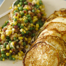 Ricotta Pancakes with Pancetta, Peas and Corn