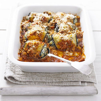 Aubergine Rolls With Spinach & Ricotta