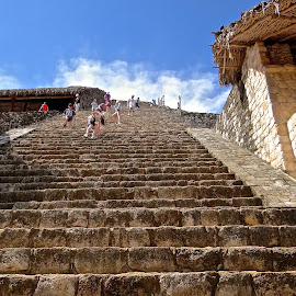 Mayan Temple Stairs - Yucatan by Steven Aicinena - Buildings & Architecture Public & Historical ( temple, people, mayan )