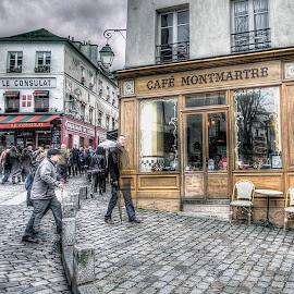 paris - montmartre 3 by Ben Hodges - City,  Street & Park  Neighborhoods ( paris, europe, hdr, montmartre, cafe, france, travel )