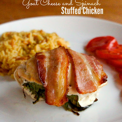 Bacon Wrapped Chicken Roll Ups with Spinach and Goat Cheese