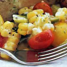 Fall Salad of Corn, Cherry Tomatoes, and Oven-Roasted Green Onions